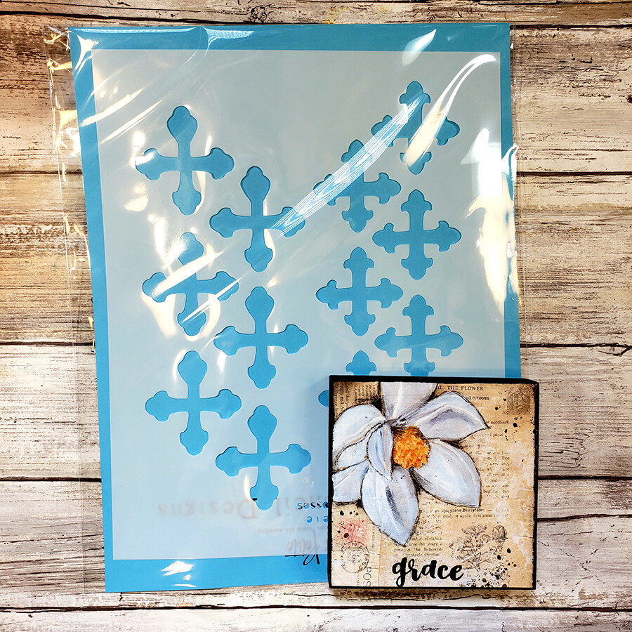 vintage crosses stencil and grace 4x4 print on wood available Tues. Aug. 13th