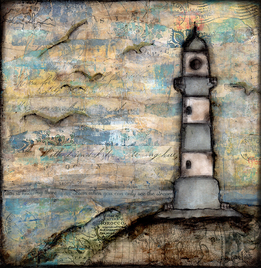 """The stream"" lighthouse, Print on Wood and Print to be Framed"
