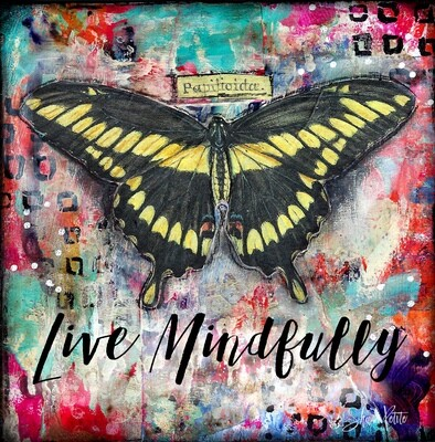 Live Mindfully yellow butterfly