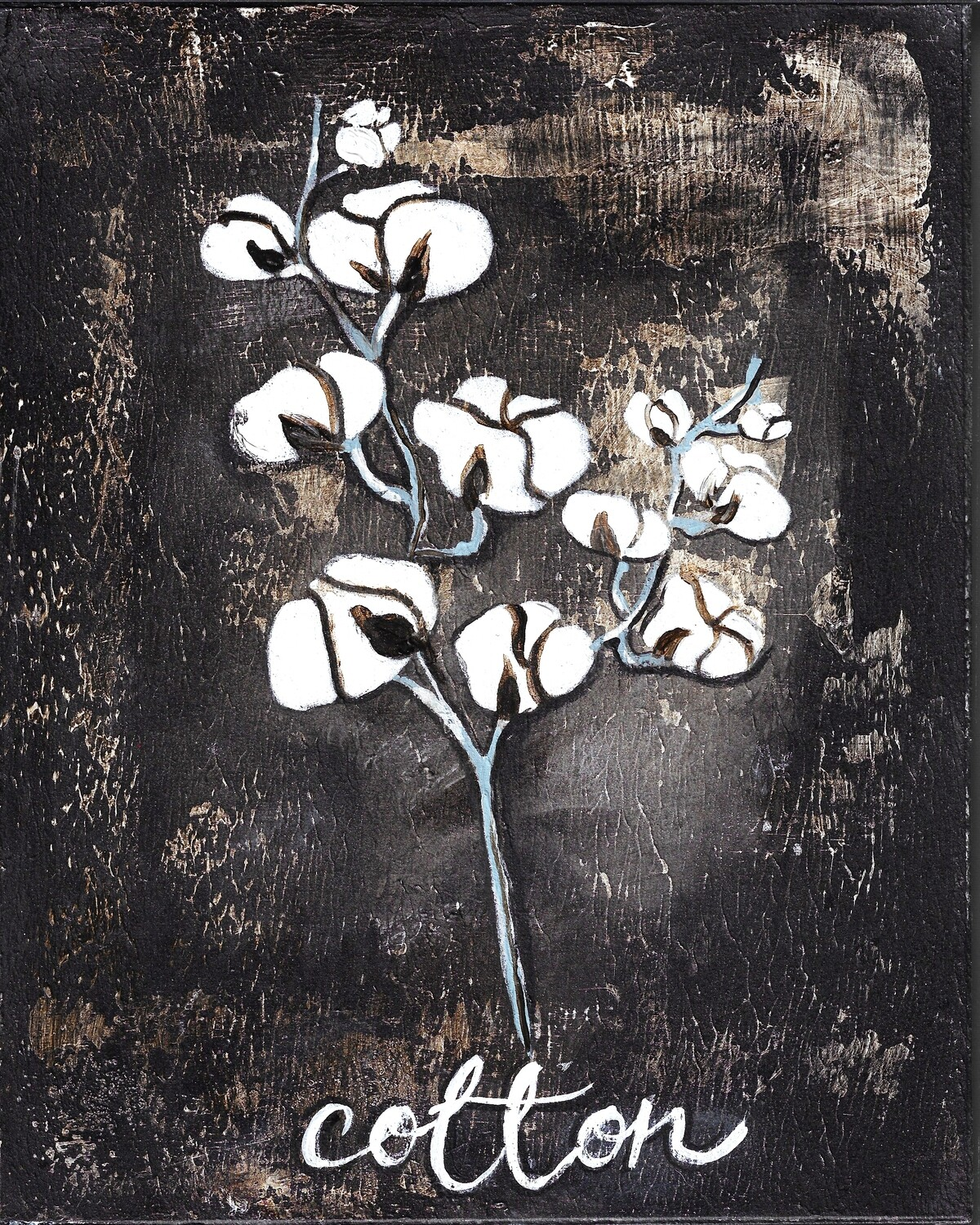 """Cotton Stem"" Print on Wood and Print to be Framed"