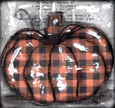 Pumpkin orange plaid round