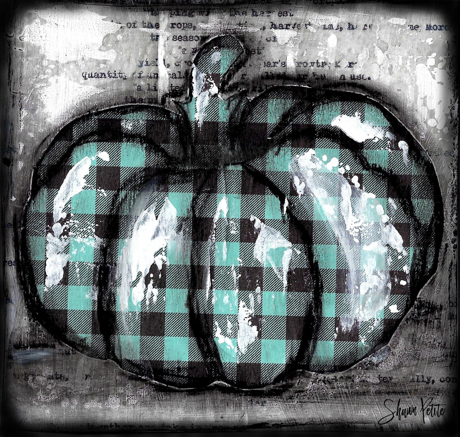 Pumpkin teal plaid round