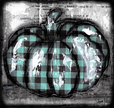 Pumpkin teal plaid round