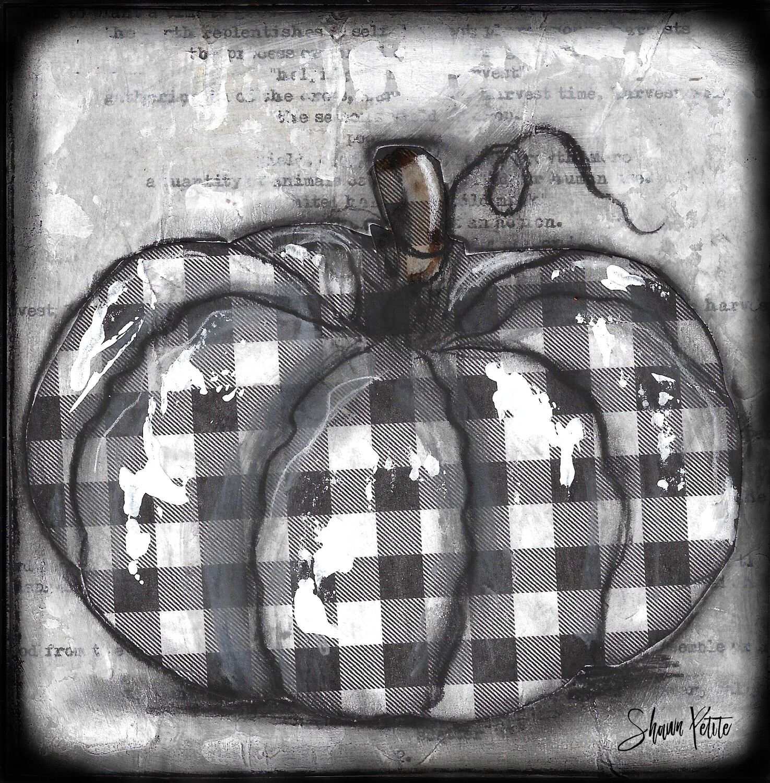 Pumpkin black and white plaid round