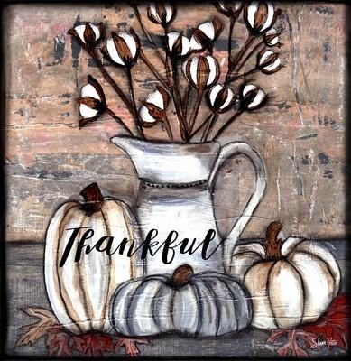 thankful cotton and pumpkins