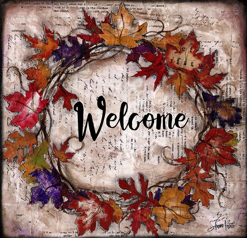 """Welcome"" fall leaves wreath"