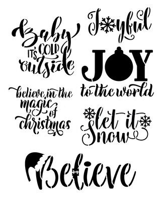 Christmas Words Joyful stencil