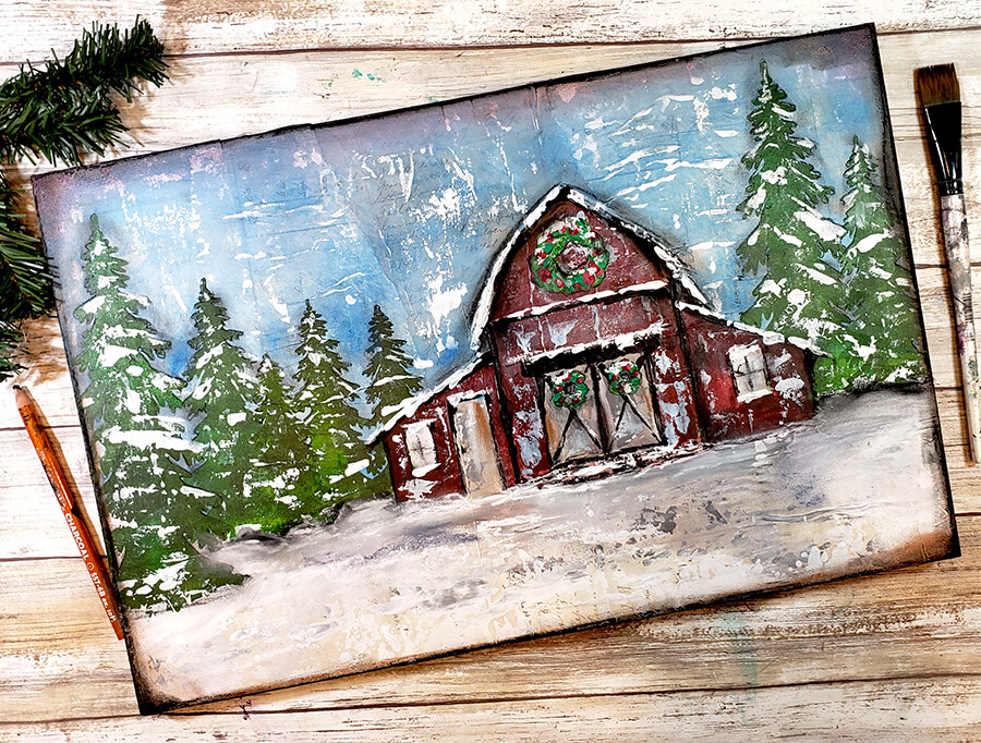 Winter red barn 11x17 mixed media original