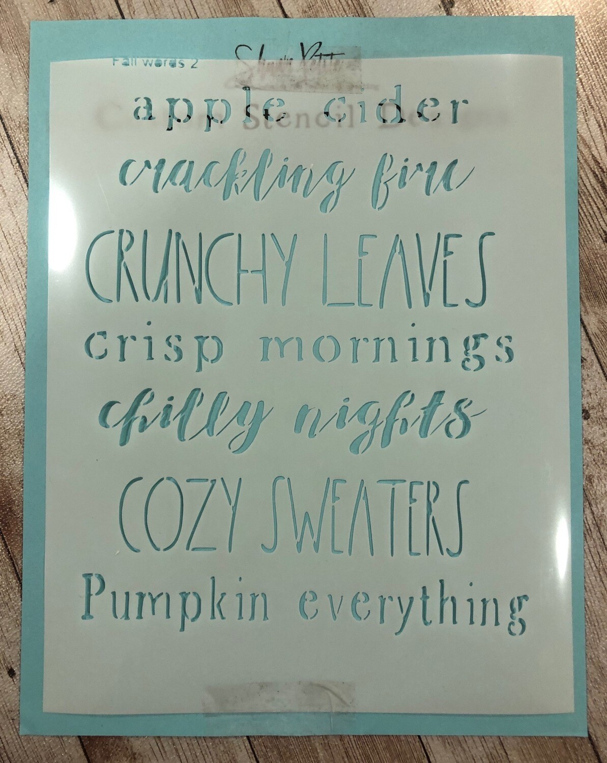 Fall Words 2 stencil clearance