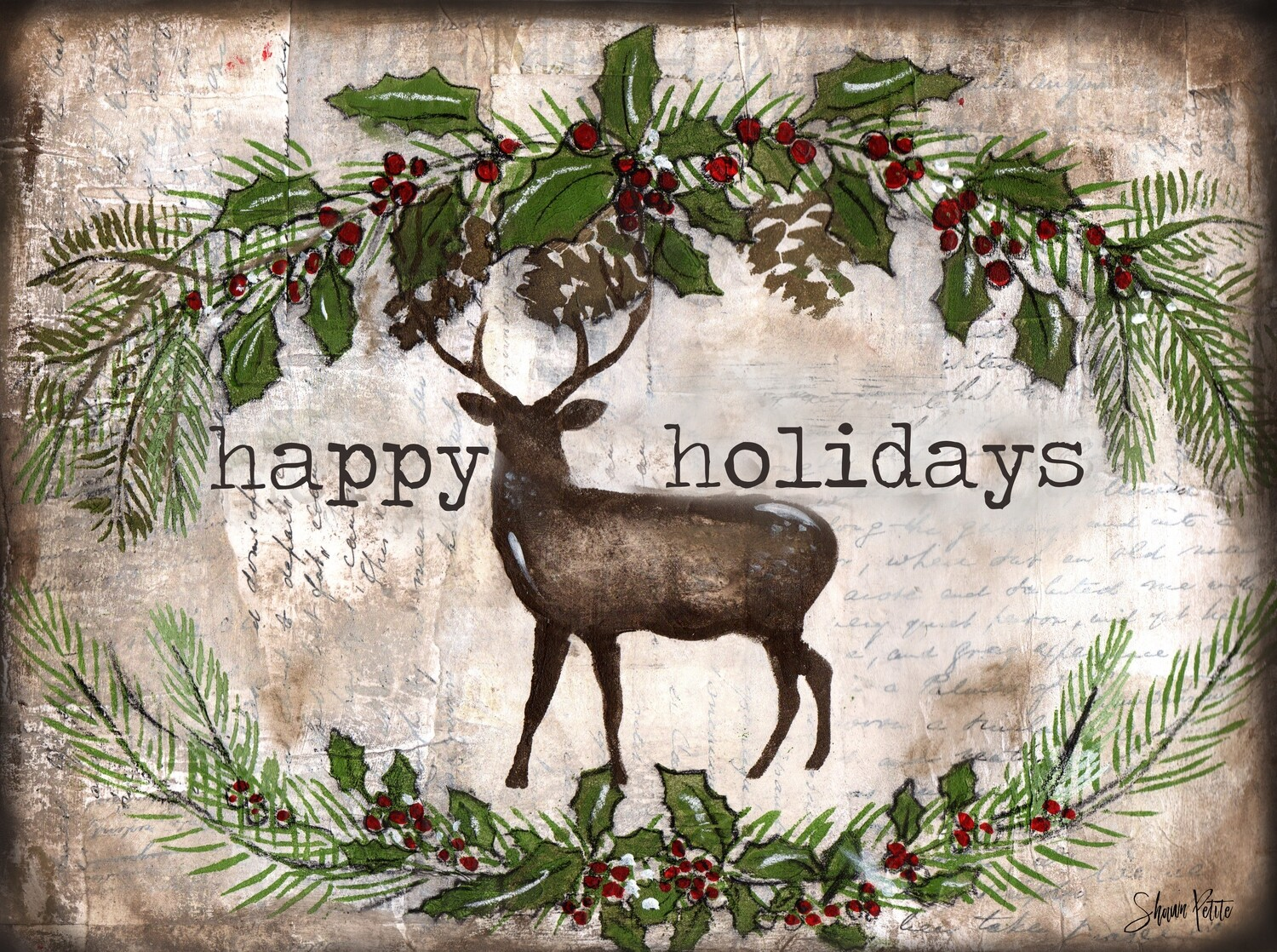 """""""Happy Holiday"""" deer Print on Wood and Print to be Framed"""