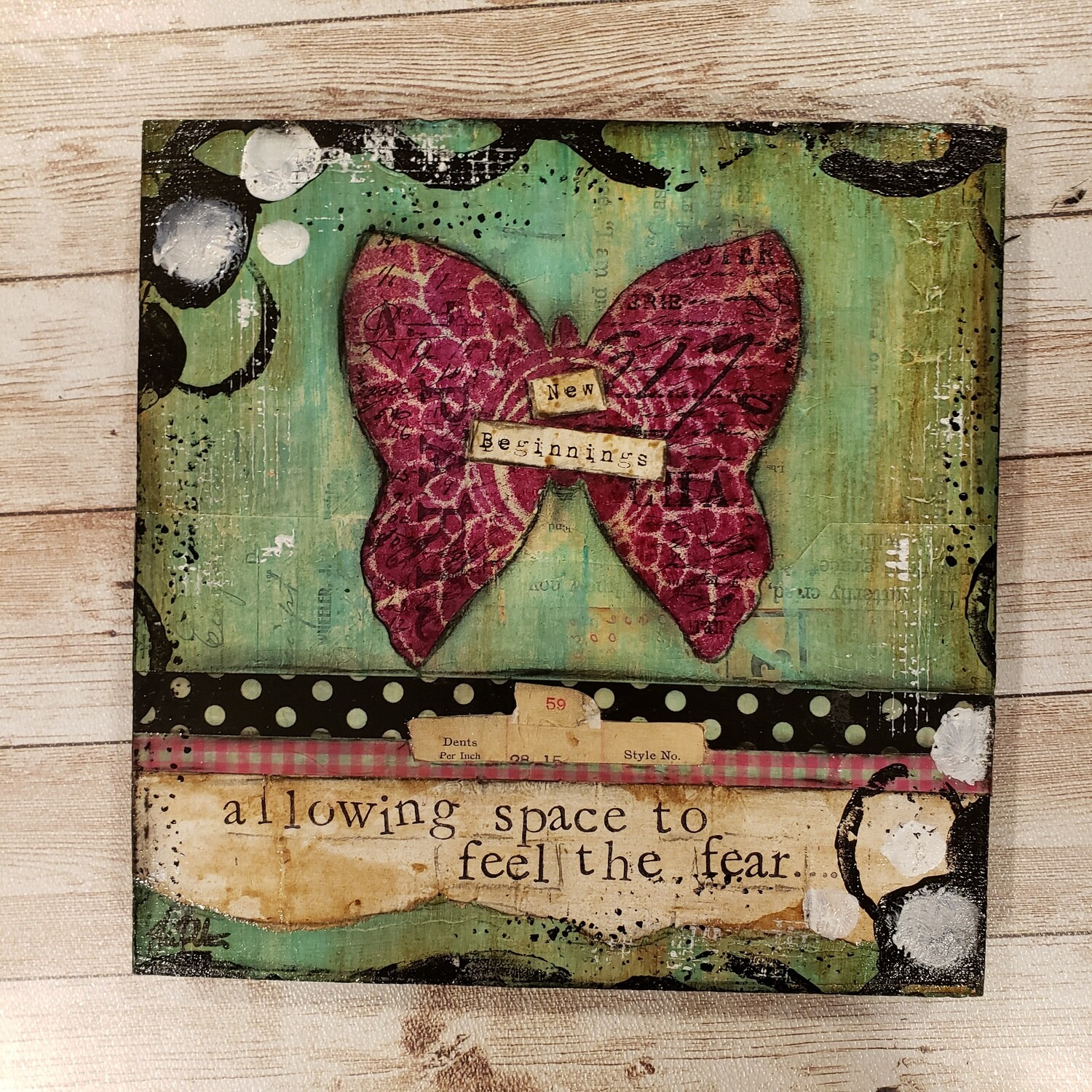 """New beginnings allowing space"" 8x8 clearance mixed media original"