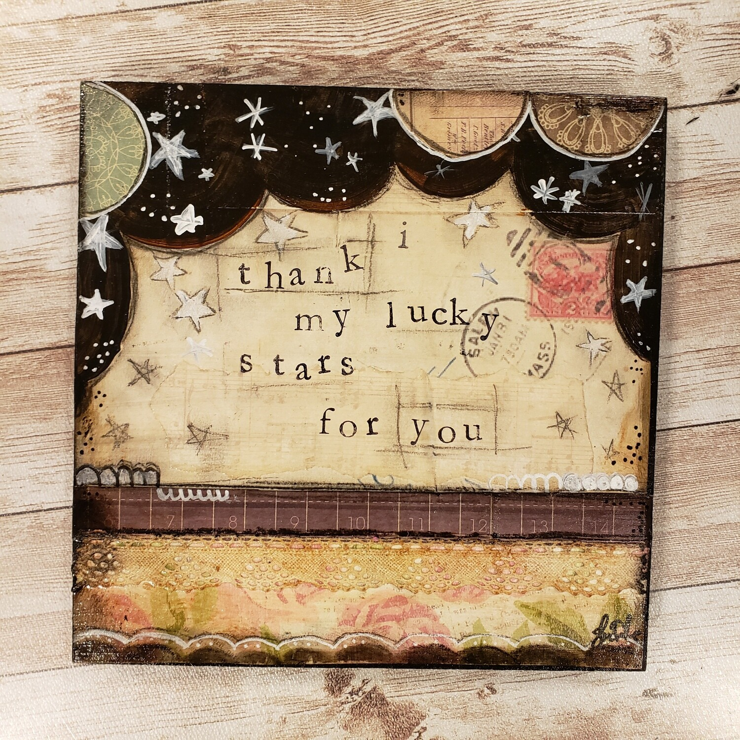 I thank my lucky stars for you 8x8 clearance mixed media original