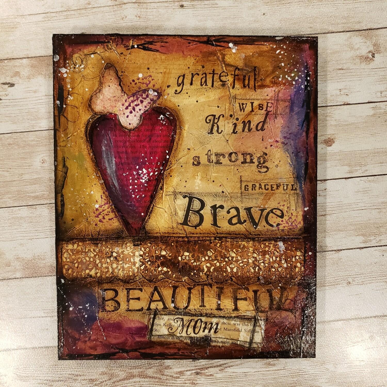 Beautiful mom 8x10 clearance mixed media original