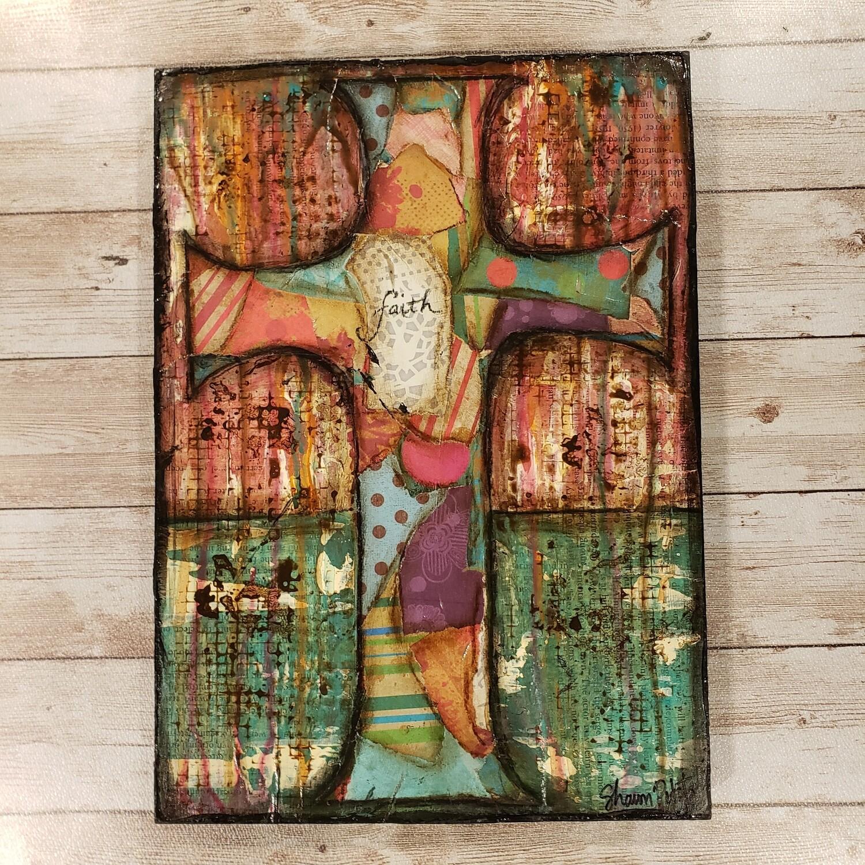 """""""Faith"""" 8x11 clearance mixed media original"""
