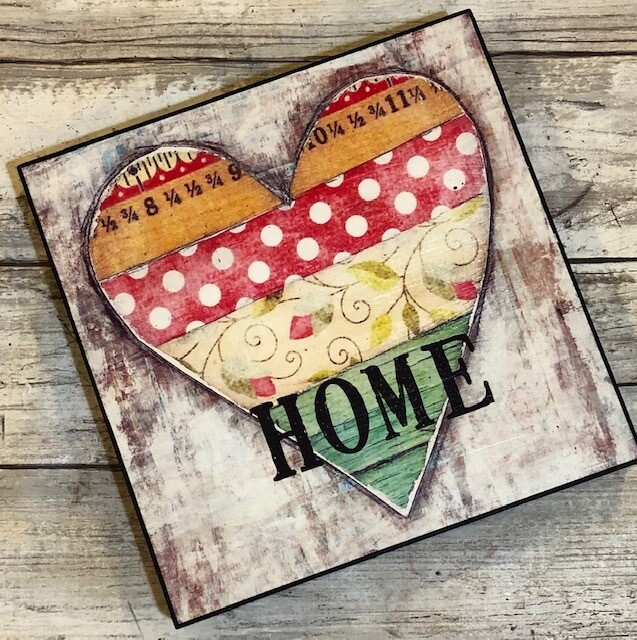 """Home"" 6x6 print on wood Clearance"