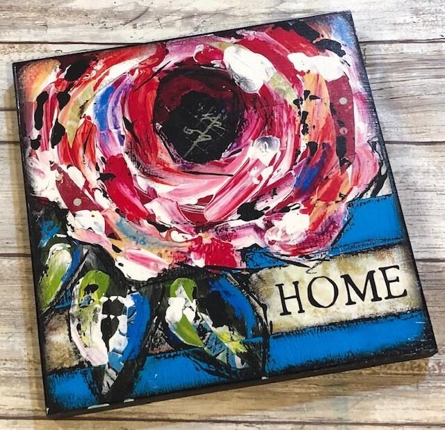 """Home"" 8x8 print on wood Clearance"