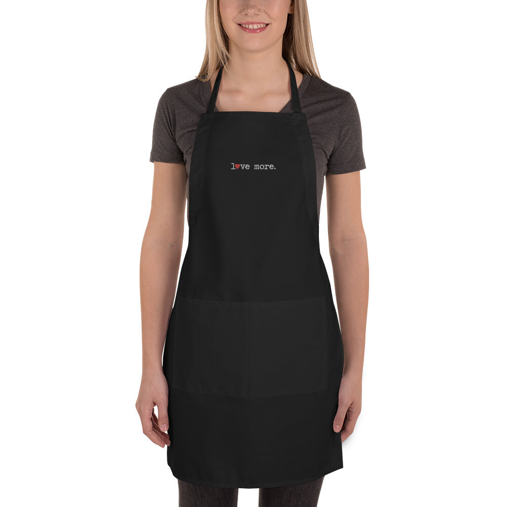 """Love More"" Embroidered Apron"