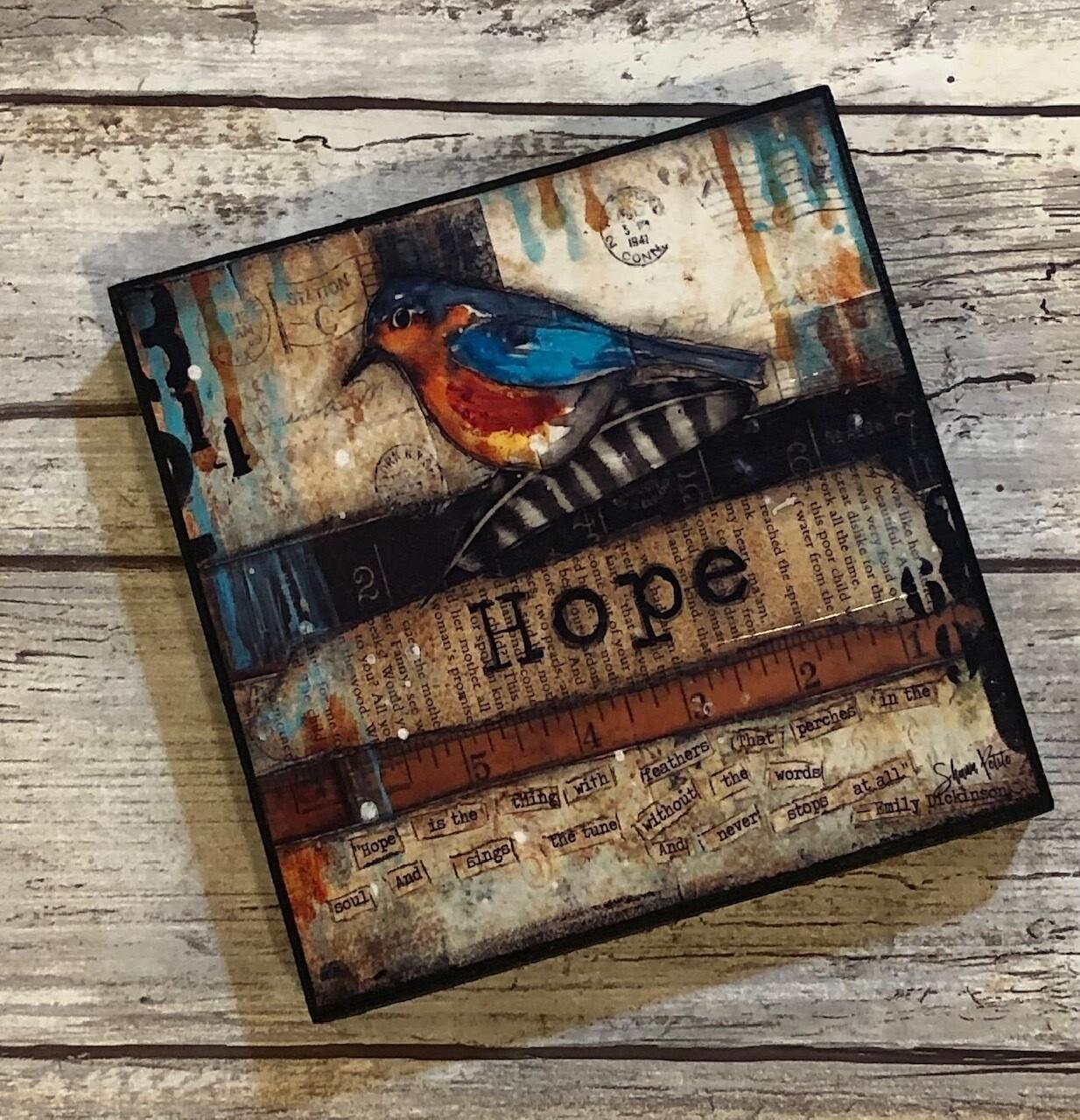 """Hope Bird"" Clearance 4x4 prints on wood"
