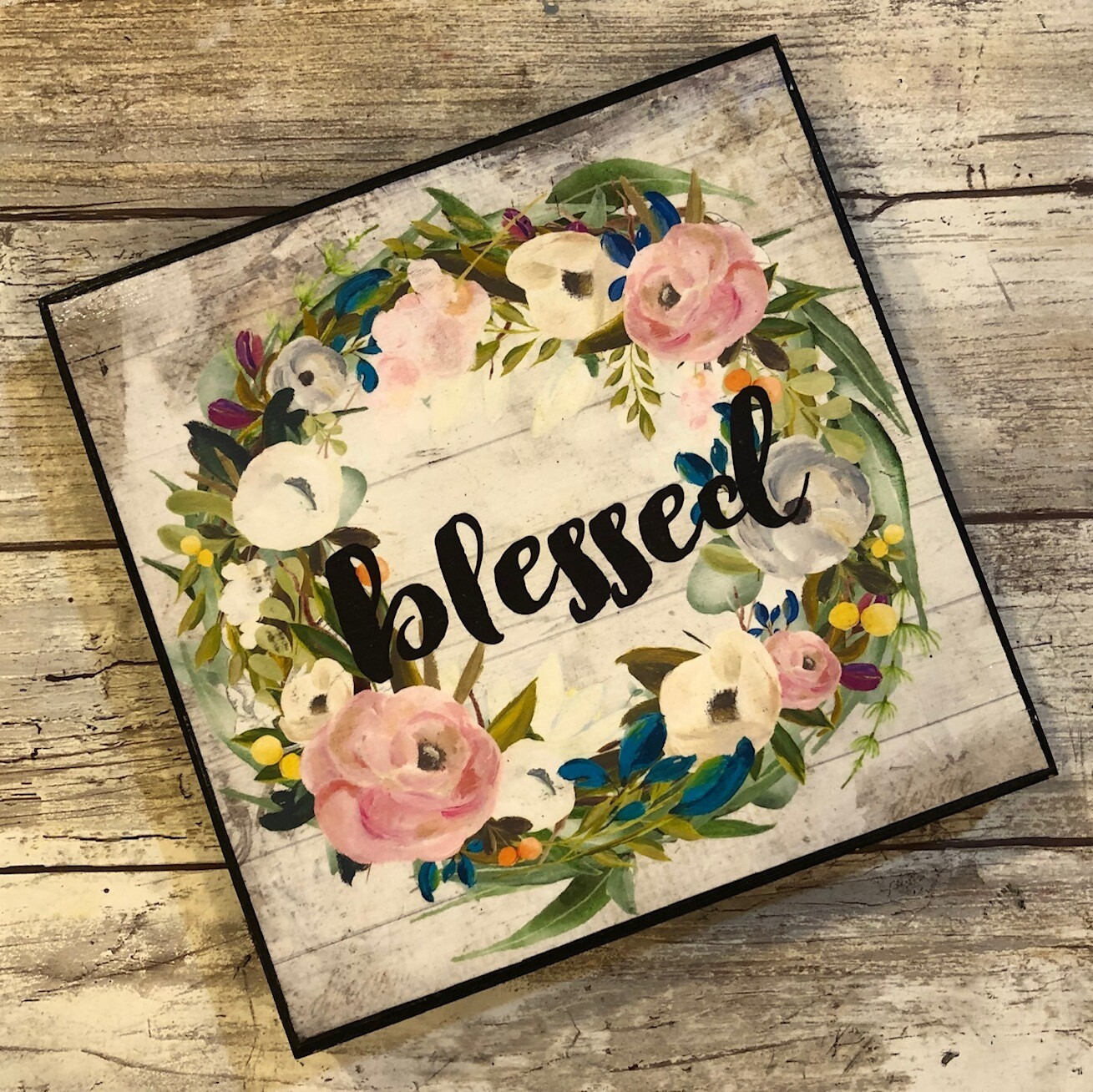 """Blessed wreath"" pink flowers 6x6 clearance"