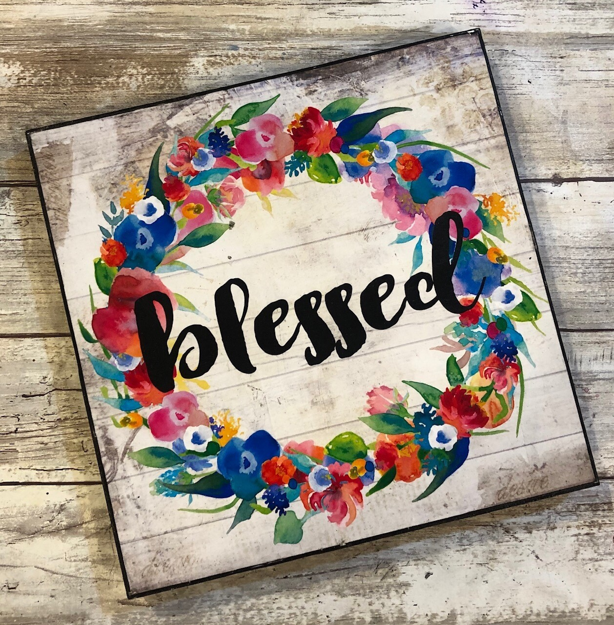 """""""Blessed wreath"""" bright flowers 4x4 clearance"""