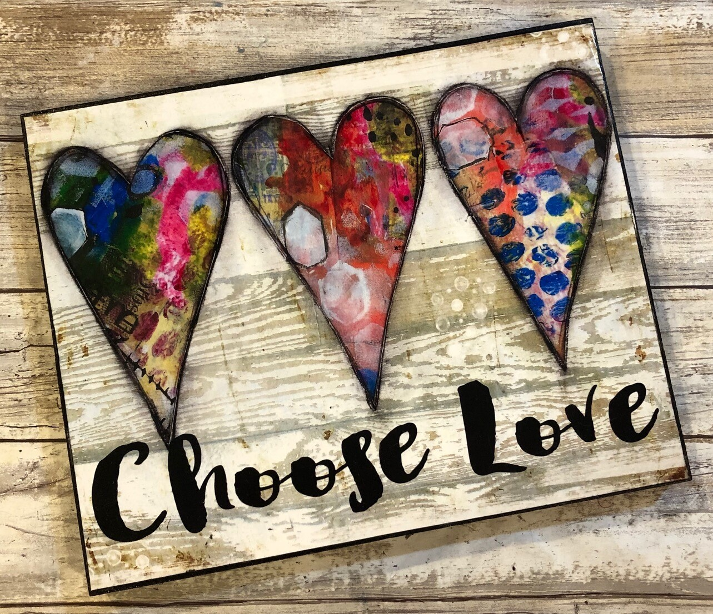 """Choose Love"" hearts 8x10 clearance"