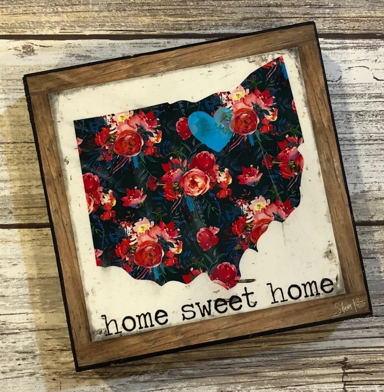 """Home Sweet Home"" Ohio flower 4x4 Clearance"