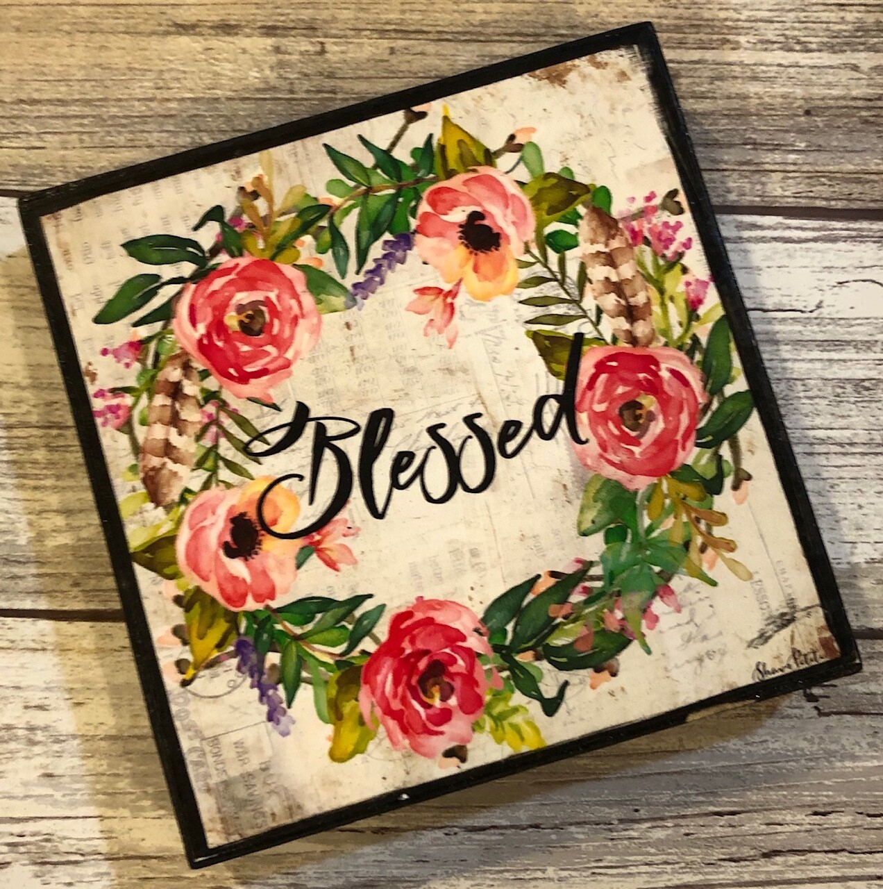 """Blessed"" muted wreath 4x4 Clearance"
