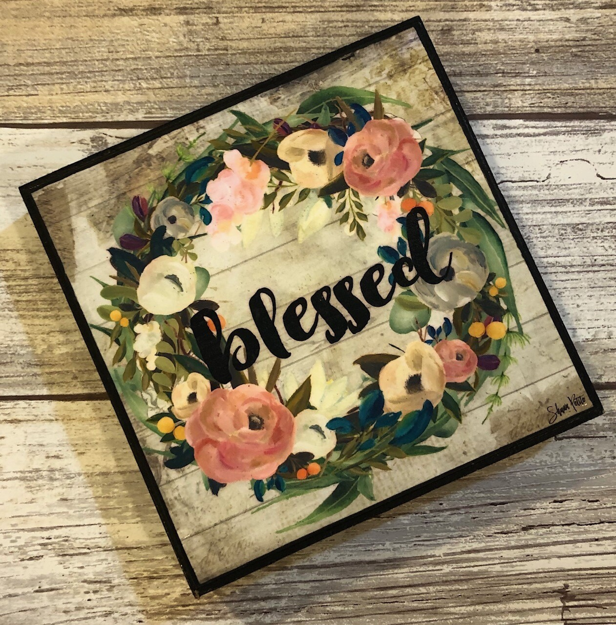 """""""Blessed"""" muted multi wreath 4x4 Clearance"""