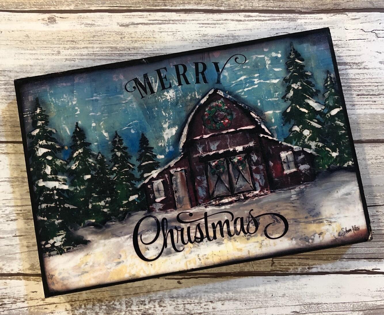 """""""Merry Christmas"""" barn 4x6 Clearance"""
