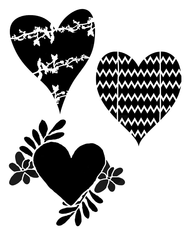 Pattern Hearts stencil