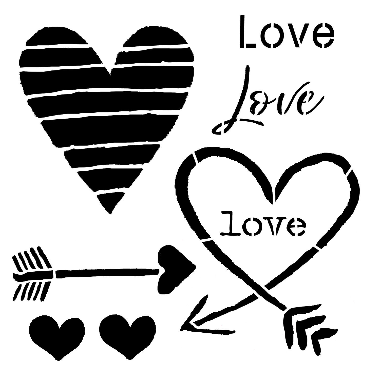 Valentine's Day Hearts and Arrow 6x6 stencil