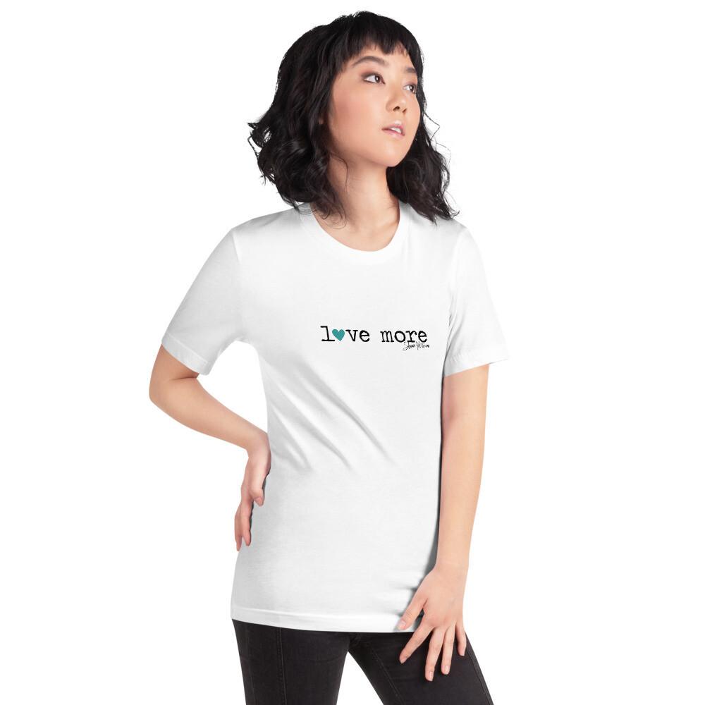 """""""Love More"""" Teal Heart Short-Sleeve T-Shirt"""