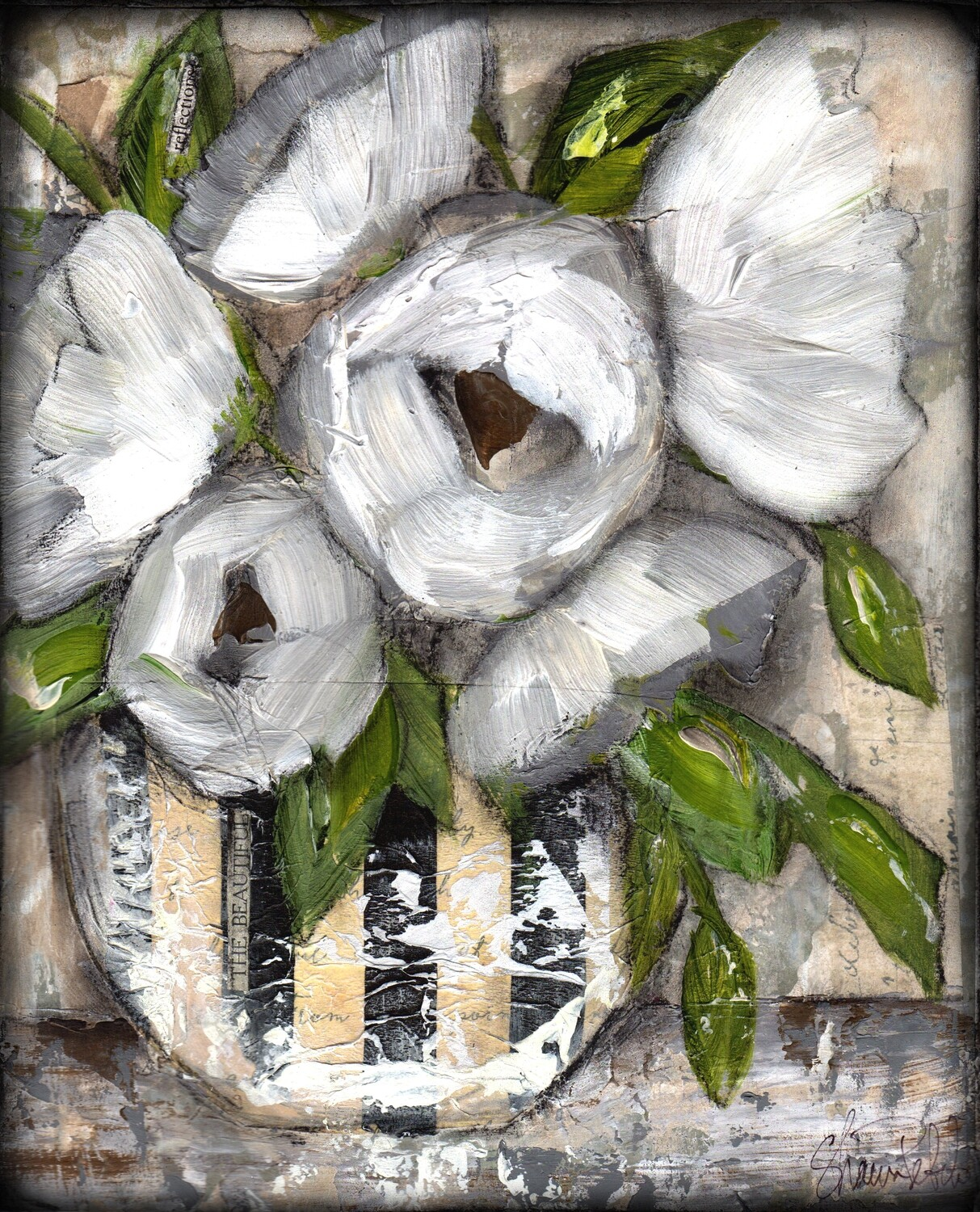 """""""The Beautiful"""" 8 x 9 3/4 mixed media original to be framed"""