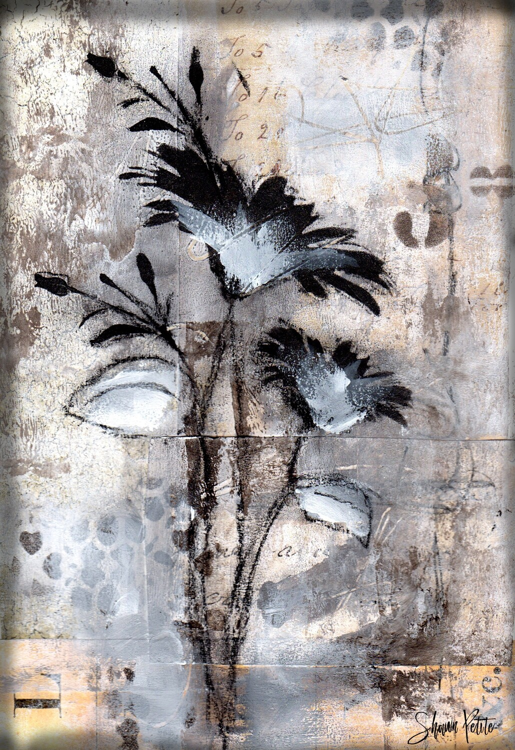 """Neutral Flower 2"" 6x9 mixed media original to be framed"