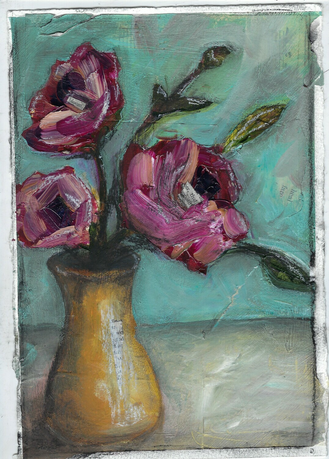 """Bloom Yellow Vase"" 7.5x11 mixed media original to be framed"