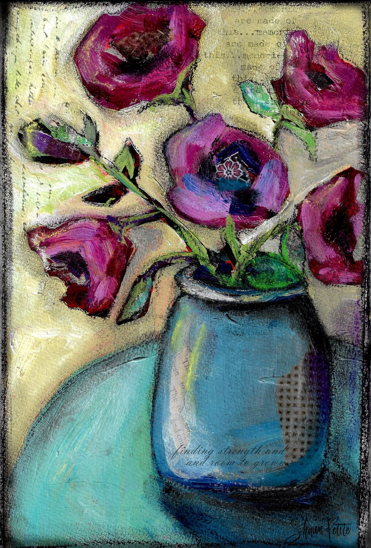 """Blue Vase"" 7.5x11 mixed media original to be framed"