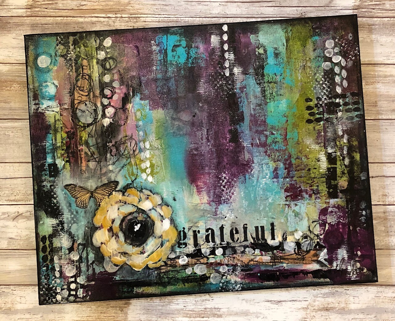 """""""Grateful"""" Mixed media abstract 16x20 gallery depth canvas"""