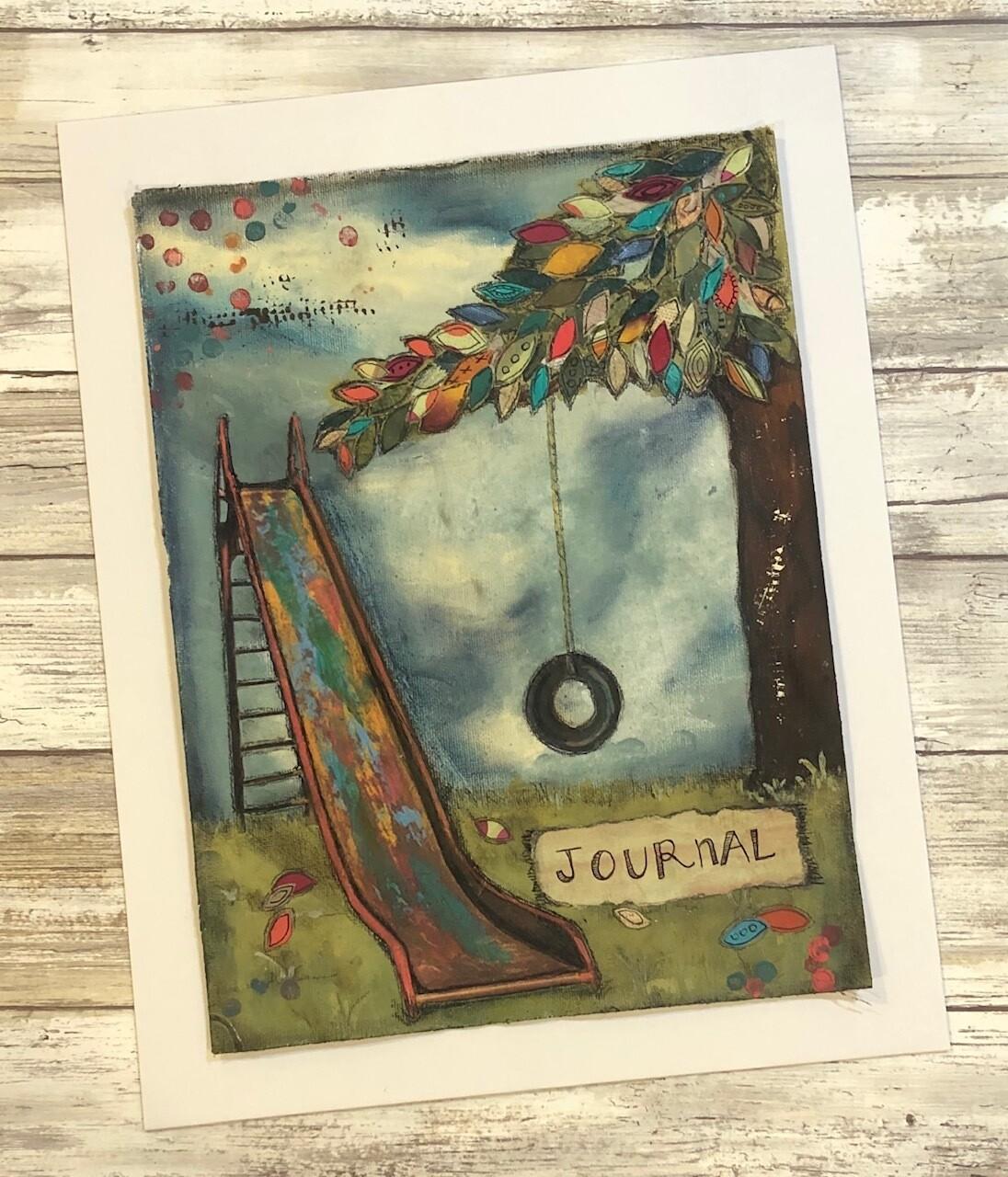 """Journal"" slide 9x12 mixed media original to be framed"