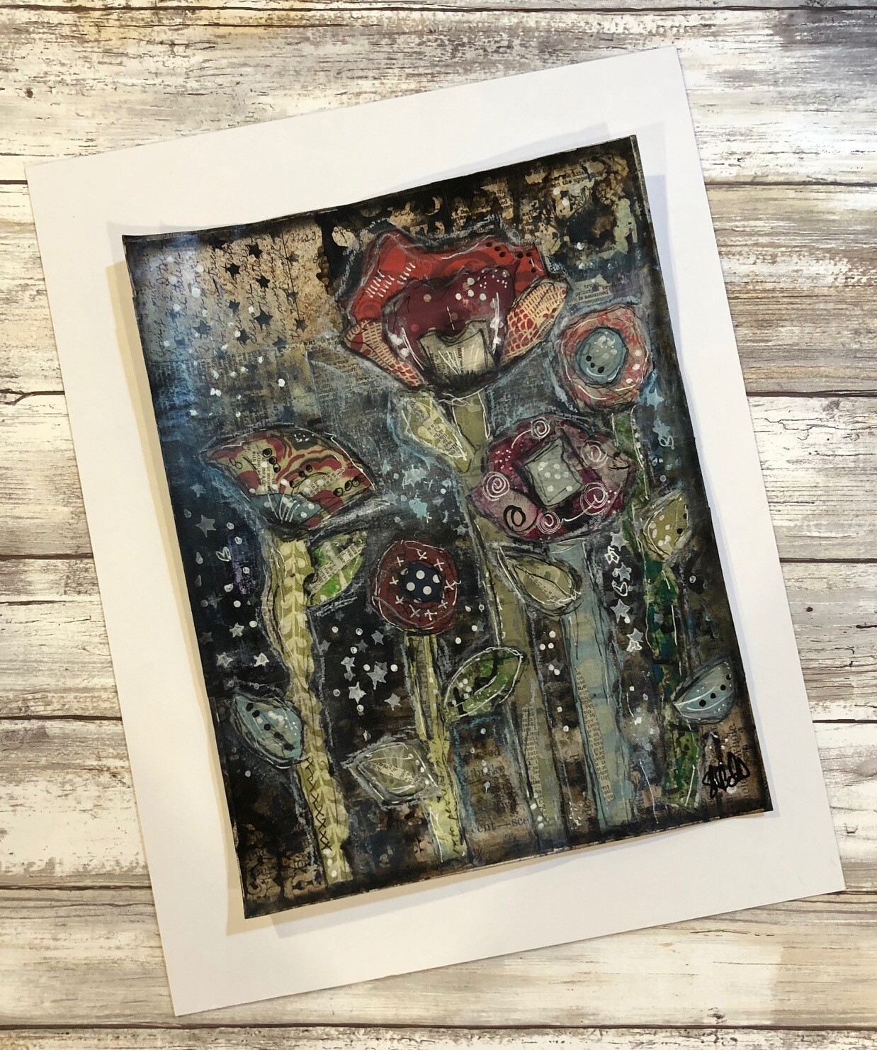 """""""Forest of Flowers 2"""" 8.5x11 mixed media original to be framed"""