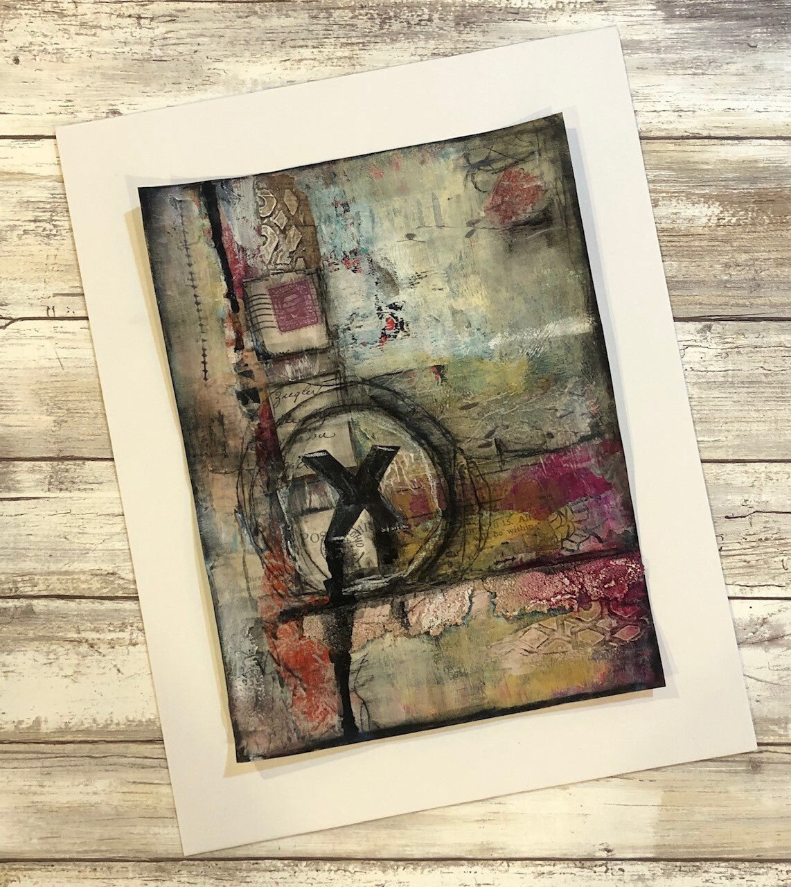 """""""Abstract X"""" 8x11 mixed media original to be framed"""