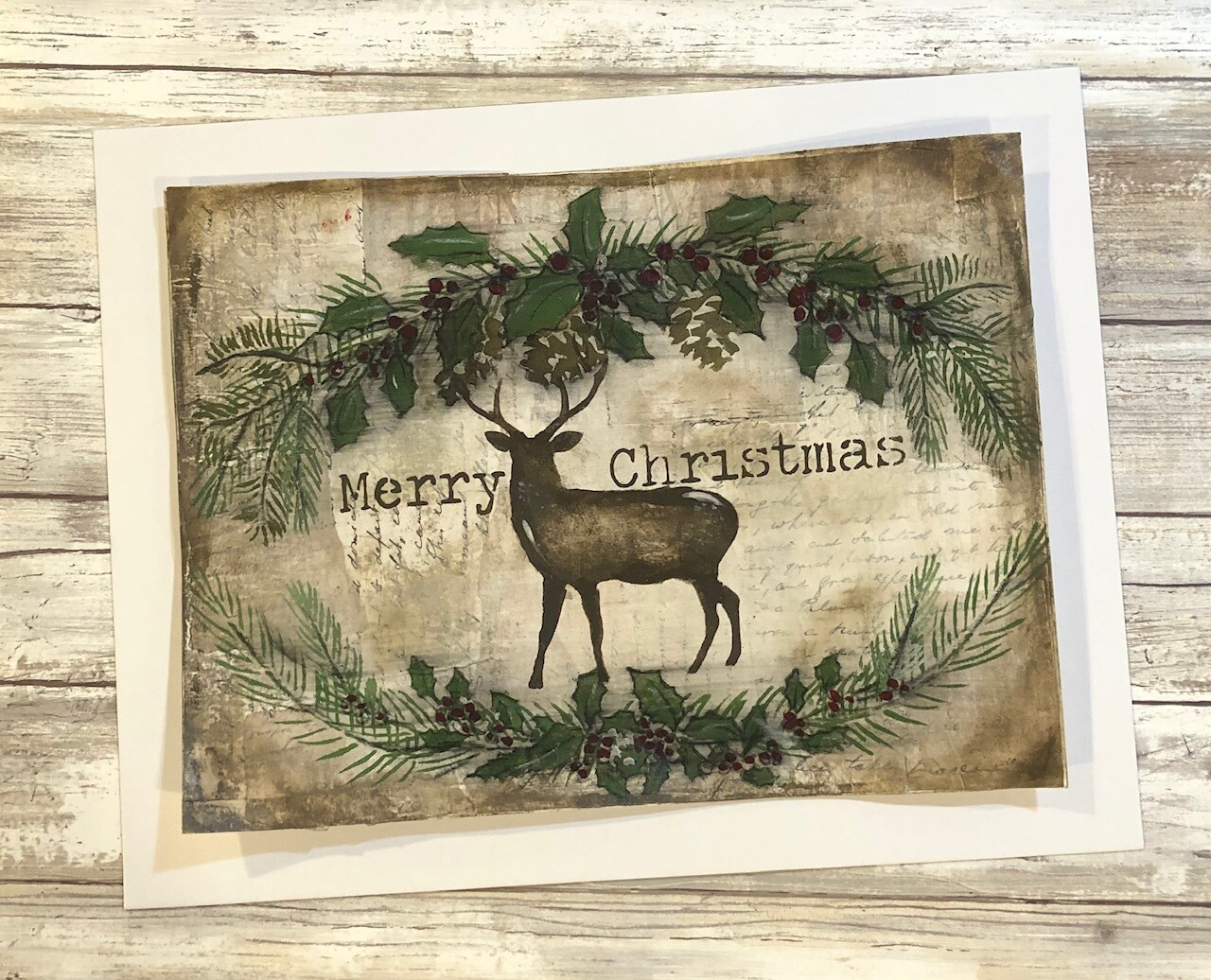 """Merry Christmas Deer"" 9x11.75 mixed media original to be framed"