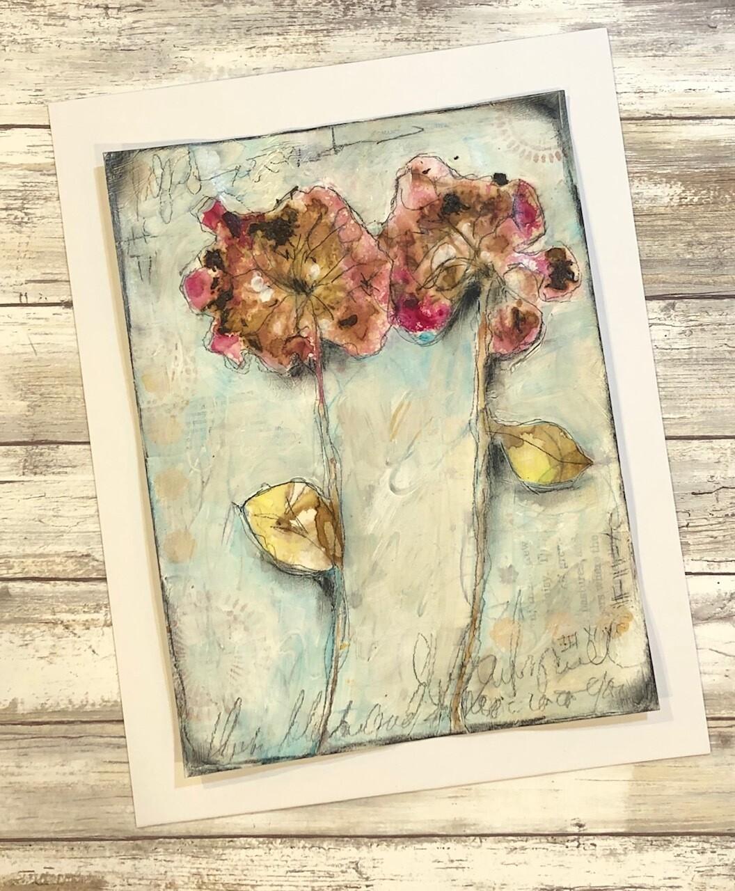 """Geranium Love 1"" 9x11.75 mixed media eco-dye with real Geraniums original to be framed"