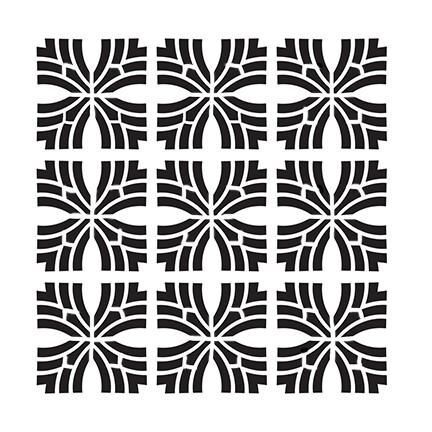 Geo Cross 9 6x6 stencil