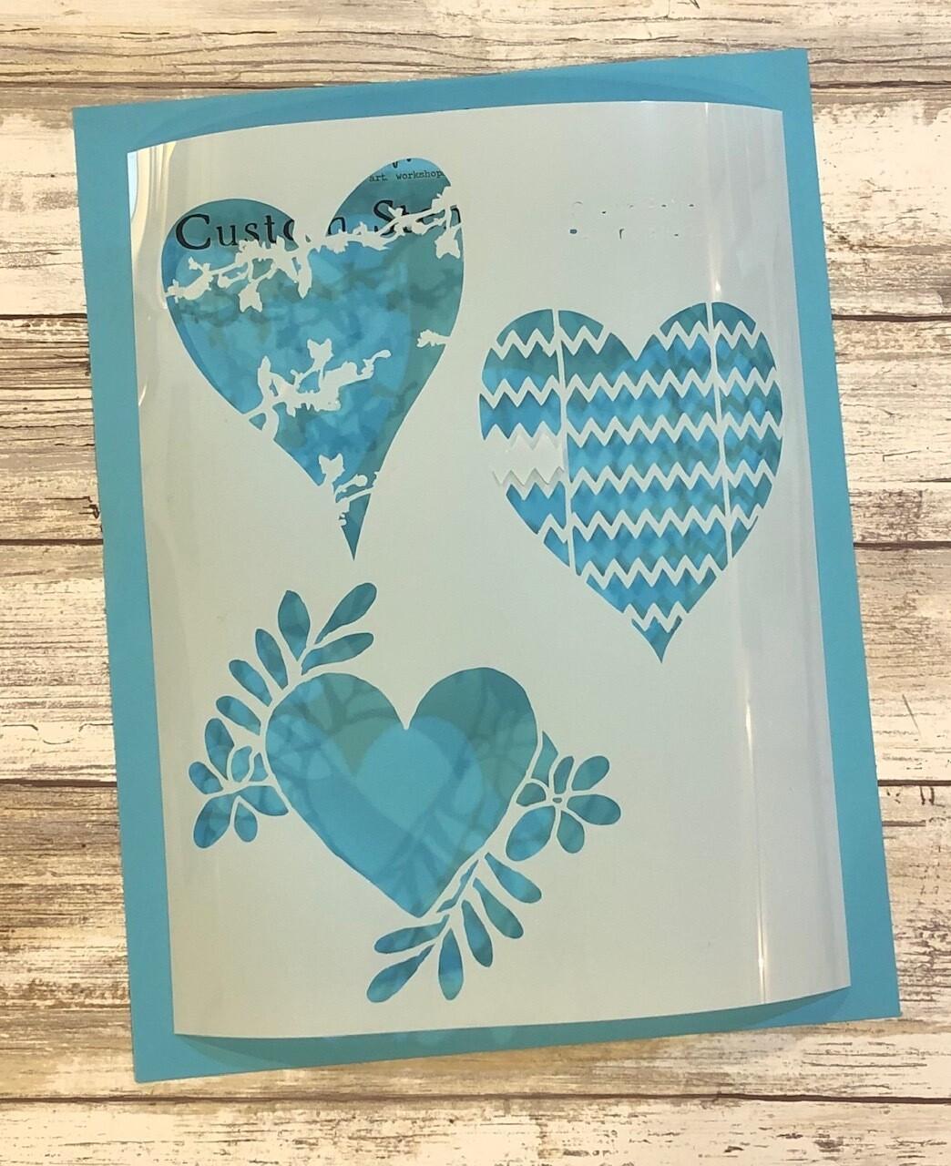 """Pattern Hearts"" clearance stencils"