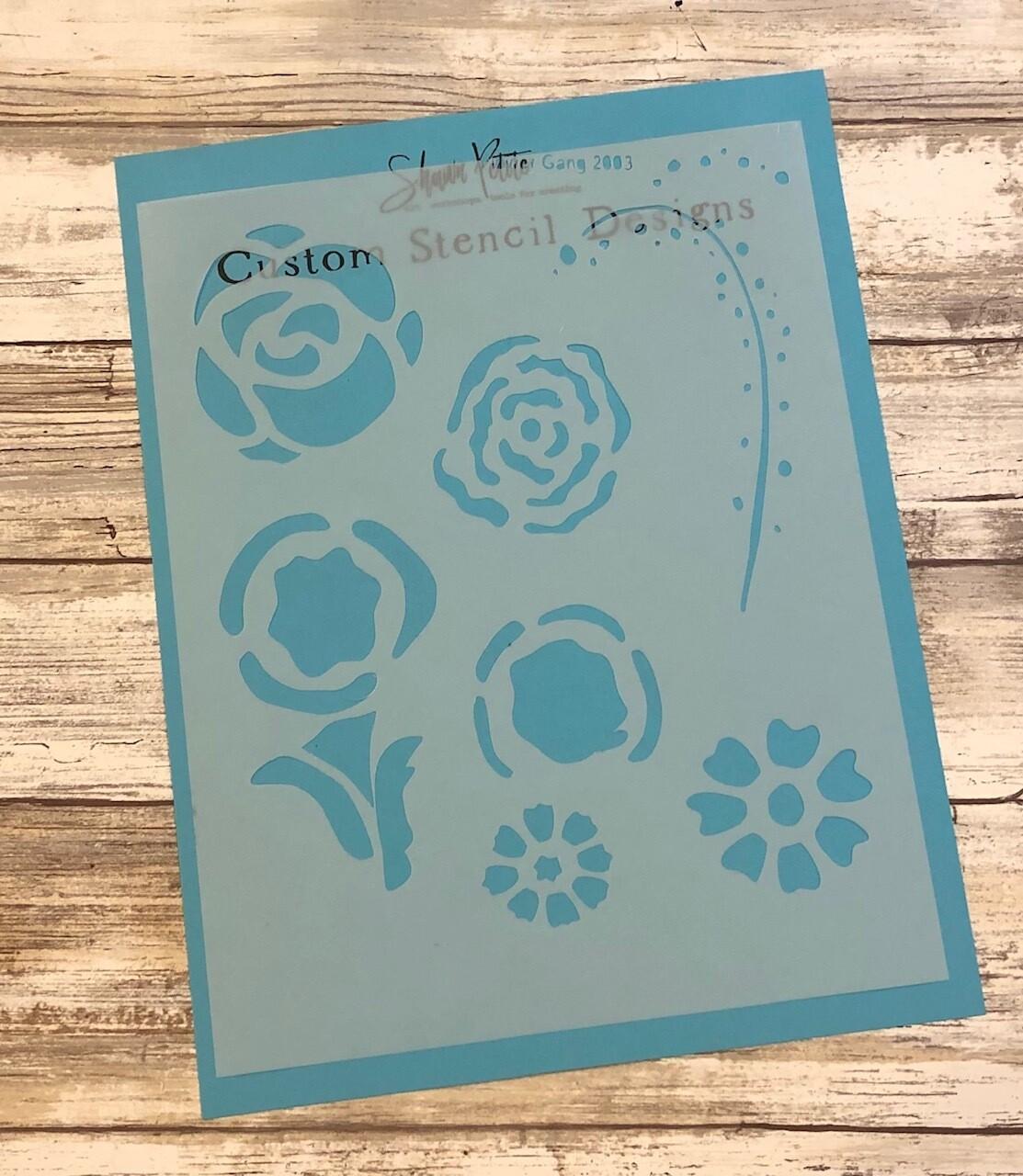"""Flower Gang 2003"" clearance stencils"