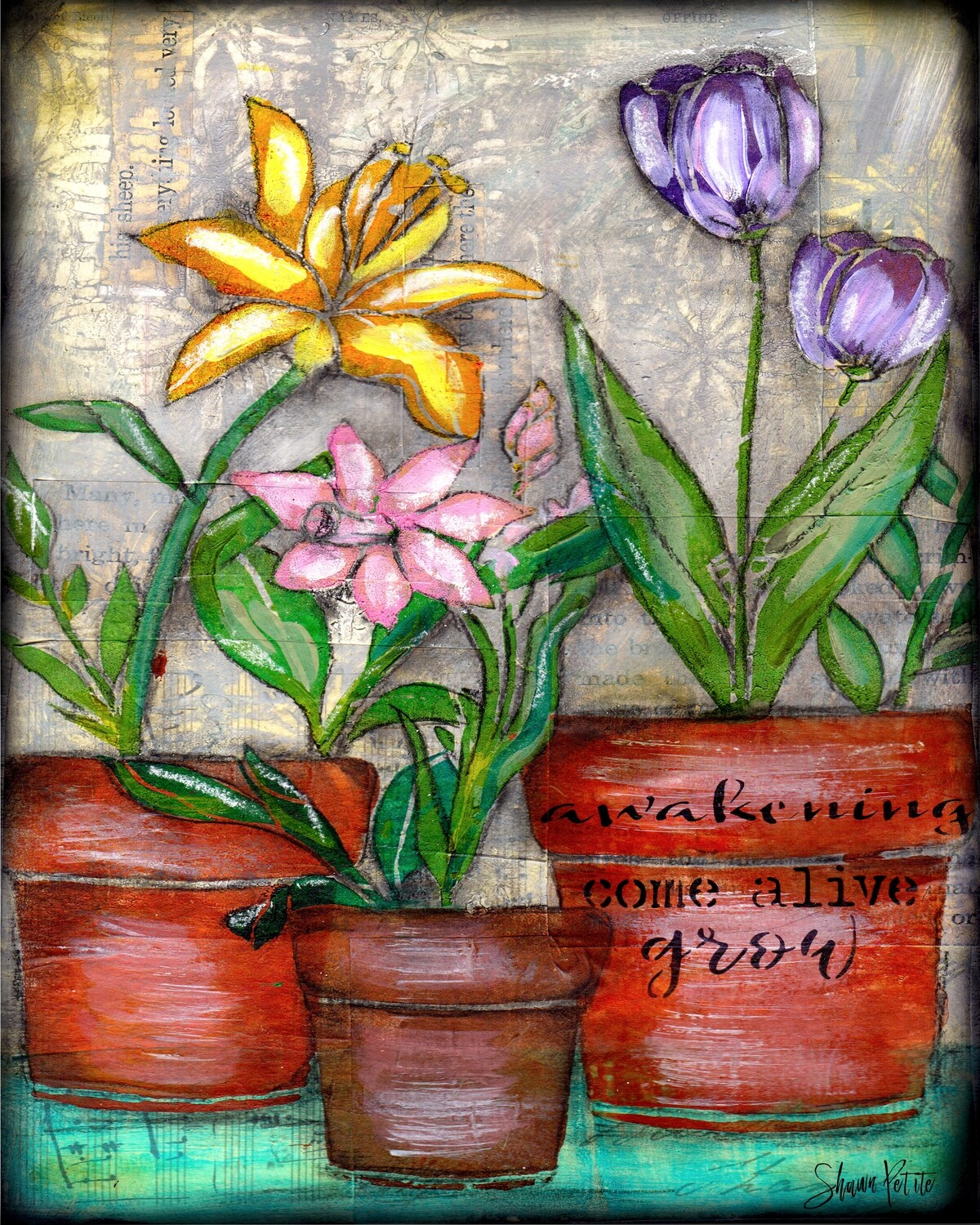 """Awakening"" flower pot trio Print on Wood and Print to be Framed"