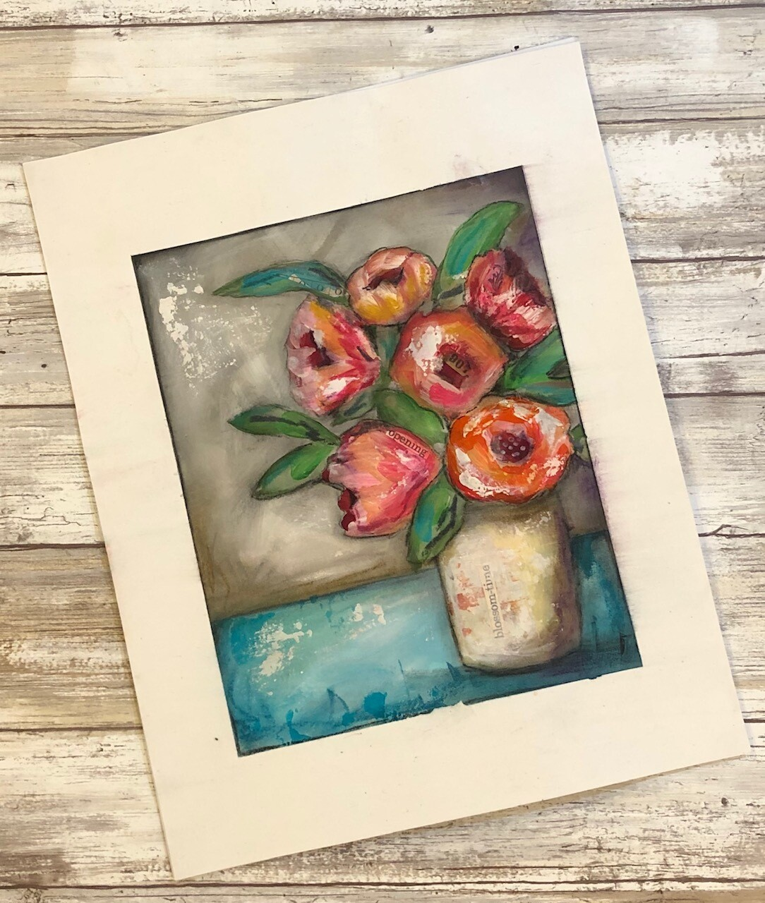 """Blossom-Time"" 8x10 mixed media original to be framed"