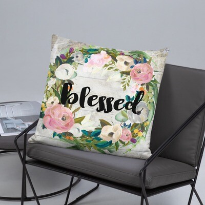 Blessed muted flowers wreath Basic Pillow