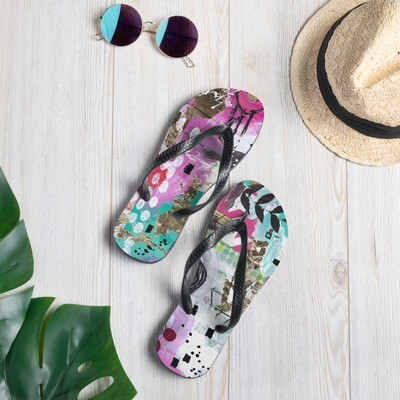 Purple Abstract Flip-Flops