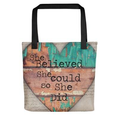 She Believed heart Tote bag